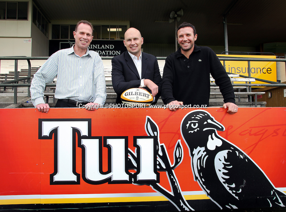Crusaders CEO Hamish Riach, Tui's Douglas McIntyre and CFRU developement manager Aaron Mauger at the announcement of the TUI cash-for-try incentive on the remaining Crusader games. Rugby Park, Christchurch. Wednesday 23 March 2011. Photo: Joseph Johnson / photosport.co.nz