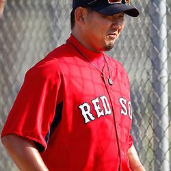 February 18, 2011; Fort Myers, FL, USA; Boston Red Sox starting pitcher Daisuke Matsuzaka (18) during spring training at the Player Development Complex.  Mandatory Credit: Derick E. Hingle