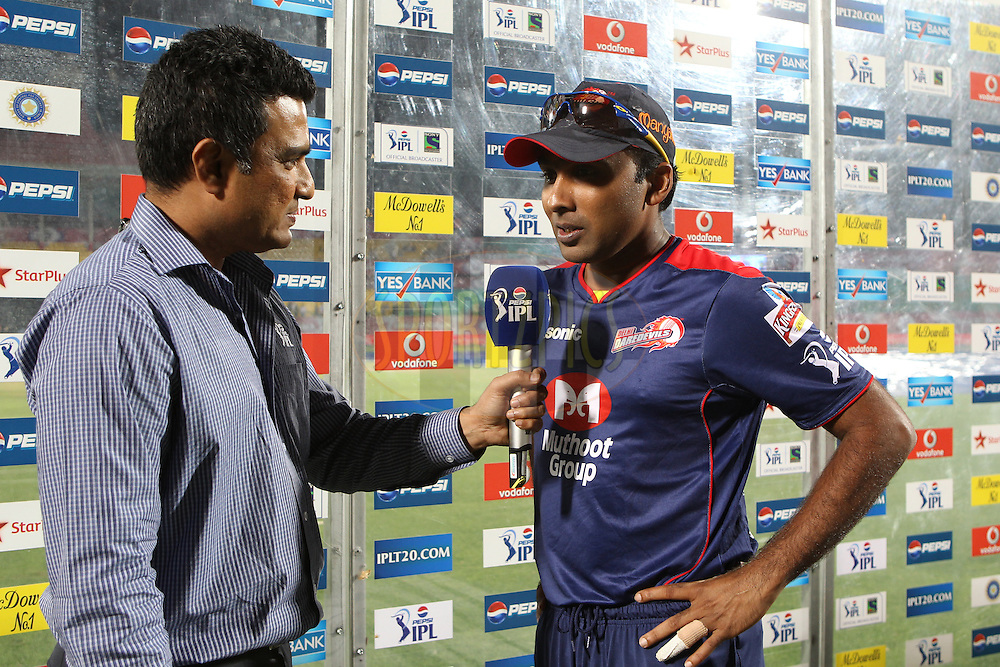 Mahela Jayawardene interviewed after the match during match 67 of the Pepsi Indian Premier League between The Kings XI Punjab and the Delhi Daredevils held at the HPCA Stadium in Dharamsala, Himachal Pradesh, India on the on the 16th May 2013..Photo by Ron Gaunt-IPL-SPORTZPICS ..Use of this image is subject to the terms and conditions as outlined by the BCCI. These terms can be found by following this link:..http://www.sportzpics.co.za/image/I0000SoRagM2cIEc