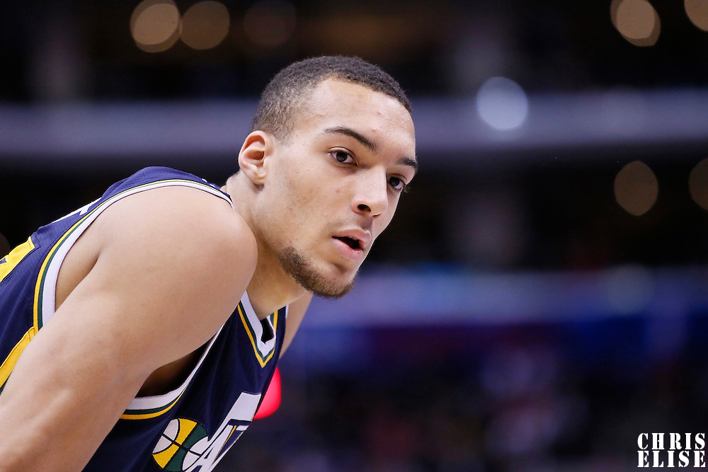 01 February 2014: Utah Jazz center Rudy Gobert (27) rests during the Los Angeles Clippers 102-87 victory over the Utah Jazz at the Staples Center, Los Angeles, California, USA.