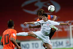 Nathan Ake of Netherlands vs Giorgi Papunashvili of Georgia during the UEFA European Under-17 Championship Group A semifinal match between Netherlands and Georgia on May 13, 2012 in SRC Stozice, Ljubljana, Slovenia. (Photo by Matic Klansek Velej / Sportida.com)