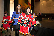 Johnny Gaudreau (Boston College) family with Calgary Flames jersey and hat during the 2014 Hobey Baker Award at the Loews Hotel, Center City in Philadelphia, PA Friday April 11th 2014<br /> <br /> Mandatory Credit: Todd Bauders/ ContrastPhotography.com