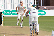 Josh Bohannon bowling to Colin Ackemann during the Specsavers County Champ Div 2 match between Leicestershire County Cricket Club and Lancashire County Cricket Club at the Fischer County Ground, Grace Road, Leicester, United Kingdom on 26 September 2019.