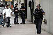 "New York, NY, USA, 2004-08-01: The Department of Homeland Security warned Sunday of possible terrorist attacks against ""iconic"" financial institutions in New York City, Washington and Newark, N.J. The New York Stock Exchange (NYSE) and the World Headquarters of Citigroup are among the potential targets.<br /> <br /> NYPD Police officers patrolling the area outside an office tower belonging to Citigroup at 53rd and Park Avenue.<br /> <br /> Photo: Orjan F. Ellingvag/ Corbis  *** Local Caption ***"