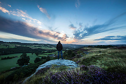 © Licensed to London News Pictures. 25/08/2015. Saltaire, UK. Picture shows this mornings sunrise over Shipley seen from Baildon Moor. Yorkshire woke to bright sunshine this morning although a cloudy afternoon is expected. Photo credit: Andrew McCaren/LNP