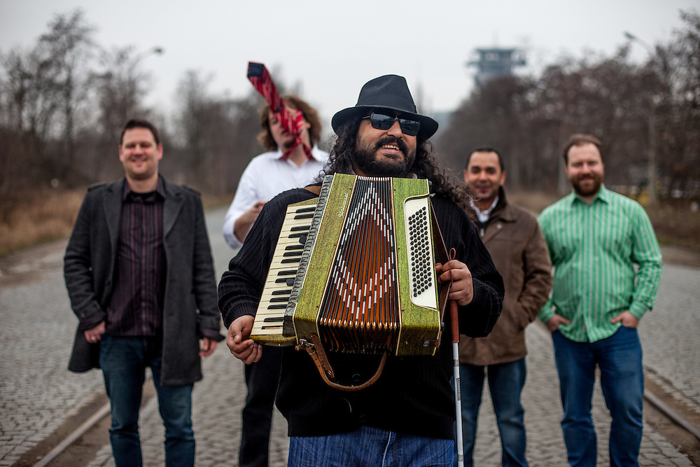 "Mario Bihari with his band ""Bachtale Apsa"" in Prague. Mario is a well known blind Roma musician originally from Slovakia living since he finished his studies in Prague, Czech Republic. Beside being a very talented multi-instrumentalist working as a professional musician he is also experimenting with photography as a another way to express himself."