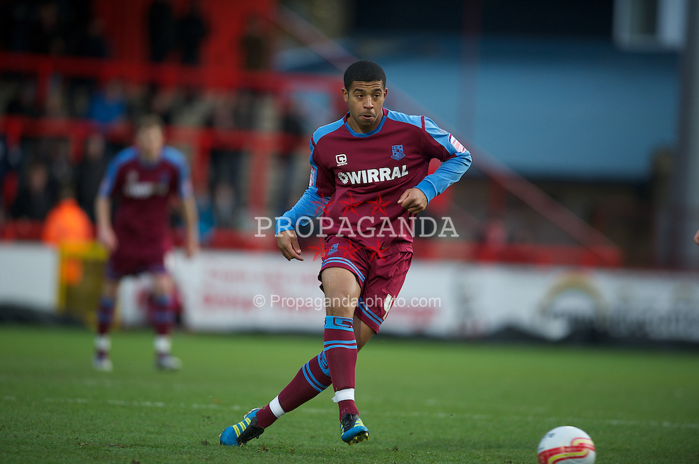 STEVENAGE, ENGLAND - Saturday, December 17, 2011: Tranmere Rovers' Joss Labadie in action against Stevenage during the Football League One match at Broadhall Way. (Pic by David Rawcliffe/Propaganda)
