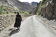 India, Jammu and Kashmir, Ladakh, Local woman walks in the landscape