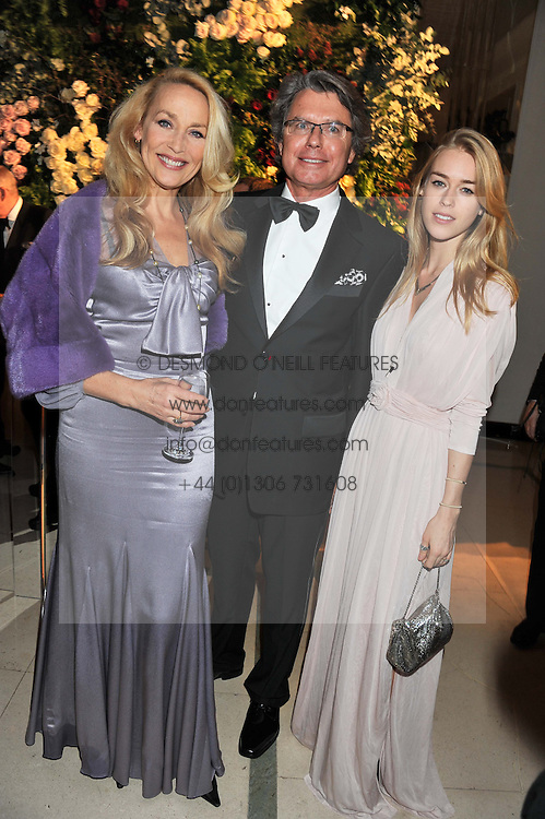 Left to right, JERRY HALL, WARWICK HEMSLEY and MARY CHARTERIS at a dinner and dance hosted by Leon Max for the charity Too Many Women in support of Breakthrough Breast Cancer held at Claridges, Brook Street, London on 1st December 2011.