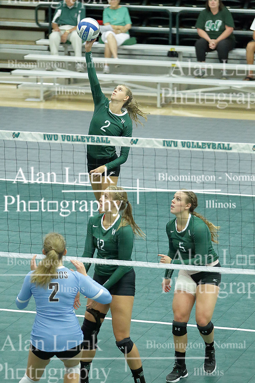 23 September 2017:  Kyleigh Block during an NCAA womens division 3 Volleyball match between the Tufts Jumbos and the Illinois Wesleyan Titans in Shirk Center, Bloomington IL
