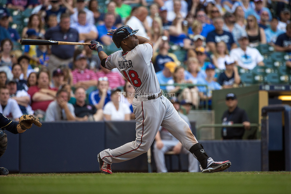 MILWAUKEE, WI- JUNE 27: Torii Hunter #48 of the Minnesota Twins bats and hits a home run against the Milwaukee Brewers on June 27, 2015 at Miller Park in Milwaukee, Wisconsin. The Twins defeated the Brewers 5-2. (Photo by Brace Hemmelgarn) *** Local Caption *** Torii Hunter