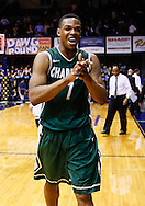 INDIANAPOLIS, IN - FEBRUARY 13: Darion Clark #1 of the Charlotte 49ers celebrates after defeating the Butler Bulldogs at Hinkle Fieldhouse on February 13, 2013 in Indianapolis, Indiana. Charlotte defeated Butler 71-67. (Photo by Michael Hickey/Getty Images) *** Local Caption *** Darion Clark