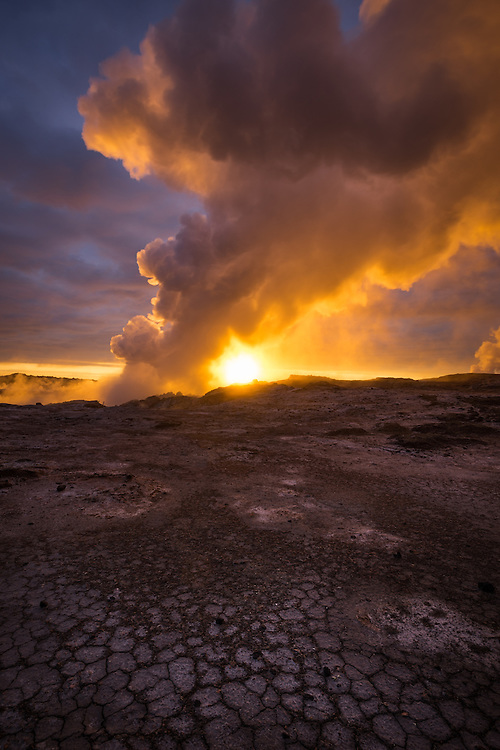 Geothermal vents at sunset on the Reykjanes Peninsula, Iceland