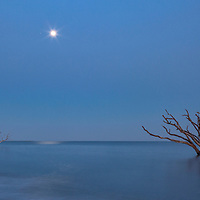 Full moon above Boneyard Beach, on Edisto Island, SC