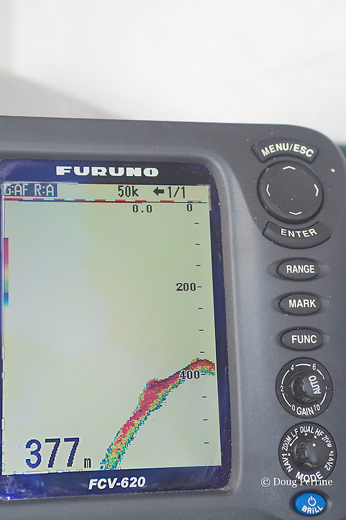 depth sounder on Reel Addiction, showing steep drop-off on west side of Vava'u, Kingdom of Tonga, South Pacific