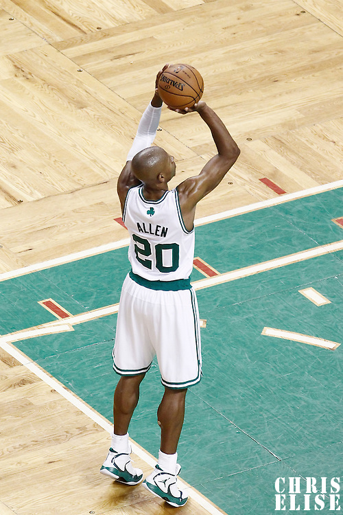 07 June 2012: Boston Celtics shooting guard Ray Allen (20) is seen at the free throw line during the Miami Heat 98-79 victory over the Boston Celtics, in Game 6 of the Eastern Conference Finals playoff series, at the TD Banknorth Garden, Boston, Massachusetts, USA.