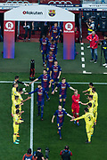 Villarreal players making the corridor to congratulate the FC Barcelona team by winning the spanish championship and the King's cup during the Spanish championship La Liga football match between FC Barcelona and Villarreal on May 9, 2018 at Camp Nou stadium in Barcelona, Spain - Photo Xavier Bonilla / Spain ProSportsImages / DPPI / ProSportsImages / DPPI