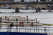 Henley on Thames, England, United Kingdom, Sunday,  07.07.19 Oxford  Brookes University, OBUBC, crew members, celebrate after winning, Henley Royal Regatta,  Henley Reach, [©Karon PHILLIPS/Intersport Images]<br /> <br /> 13:21:19 1919 - 2019, Royal Henley Peace Regatta Centenary,