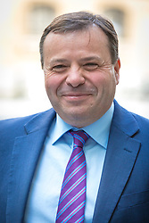 © Licensed to London News Pictures. 23/04/2017. London, UK. Millionaire UKIP donor ARRON BANKS arrives at Broadcasting House to appear on Sunday Politics. Banks intends to stand for election as an MP in Clacton, the seat currently held by former UKIP MP and rival Douglas Carswell who will not stand for reelection in the 8 June General Election. Photo credit: Rob Pinney/LNP