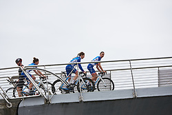 FDJ Nouvelle Aquitaine Futuroscope cross the footbridge from sign on at Ladies Tour of Norway 2018 Stage 2, a 127.7 km road race from Fredrikstad to Sarpsborg, Norway on August 18, 2018. Photo by Sean Robinson/velofocus.com