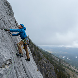 Mark Howell climbing an upper pitch of Aftonroe in Banff National Park