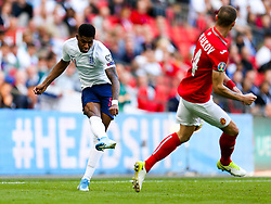 Marcus Rashford of England is challenged by Anton Nedyalkov of Bulgaria - Rogan/JMP - 07/09/2019 - FOOTBALL - Wembley Stadium - London, England - England v Bulgaria - UEFA Euro 2020 Qualifiers.