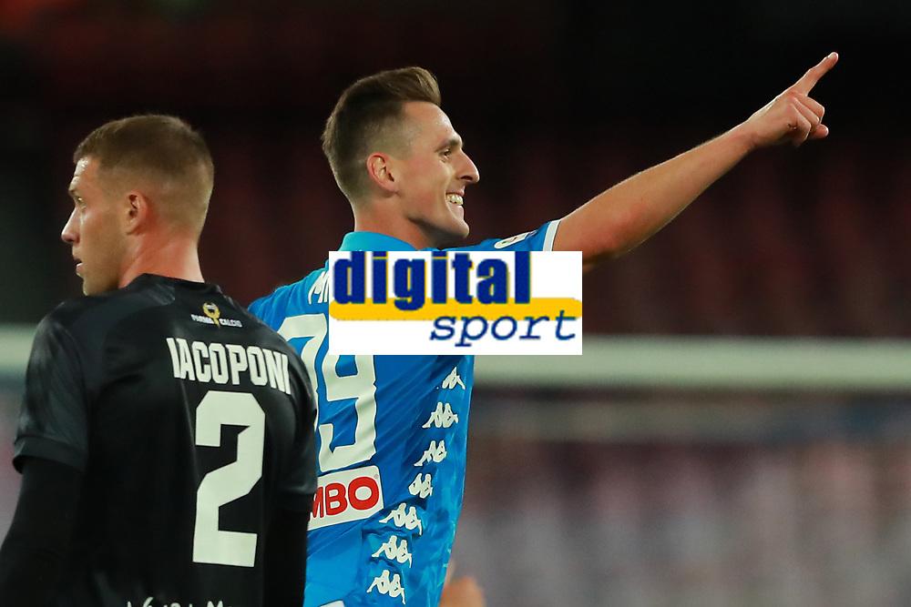 Esultanza dopo il gol di Arkadiusz Milik Napoli goal celebration <br /> Napoli 24-09-2018  Stadio San Paolo <br /> Football Campionato Serie A 2018/2019 <br /> Napoli - Parma<br /> Foto Cesare Purini / Insidefoto