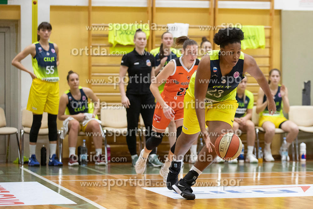Rangie Bessard of ZKK Cinkarna Celje in action during basketball match between ZKK Cinkarna Celje (SLO) and MBK Ruzomberok (SVK) in Round #6 of Women EuroCup 2018/19, on December 13, 2018 in Gimnazija Celje Center, Celje, Slovenia. Photo by Urban Urbanc / Sportida