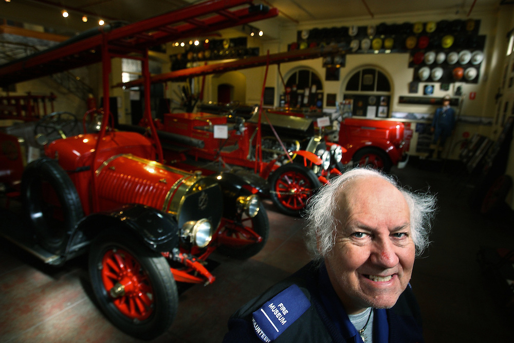 Tony Paynter - Curator, Fire Services Museum of Victoria with a Hotchkiss fire engine which was first imported from France in 1912    Pic By Craig Sillitoe   17/04/2009 SPECIAL 000 melbourne photographers, commercial photographers, industrial photographers, corporate photographer, architectural photographers, This photograph can be used for non commercial uses with attribution. Credit: Craig Sillitoe Photography / http://www.csillitoe.com<br />