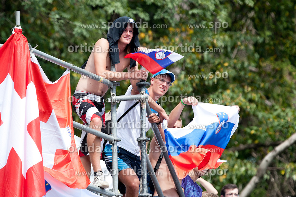 Slovenian fans at Rowing World Championships Bled 2011 on September 2, 2011, in Bled, Slovenia. (Photo by Matic Klansek Velej / Sportida)