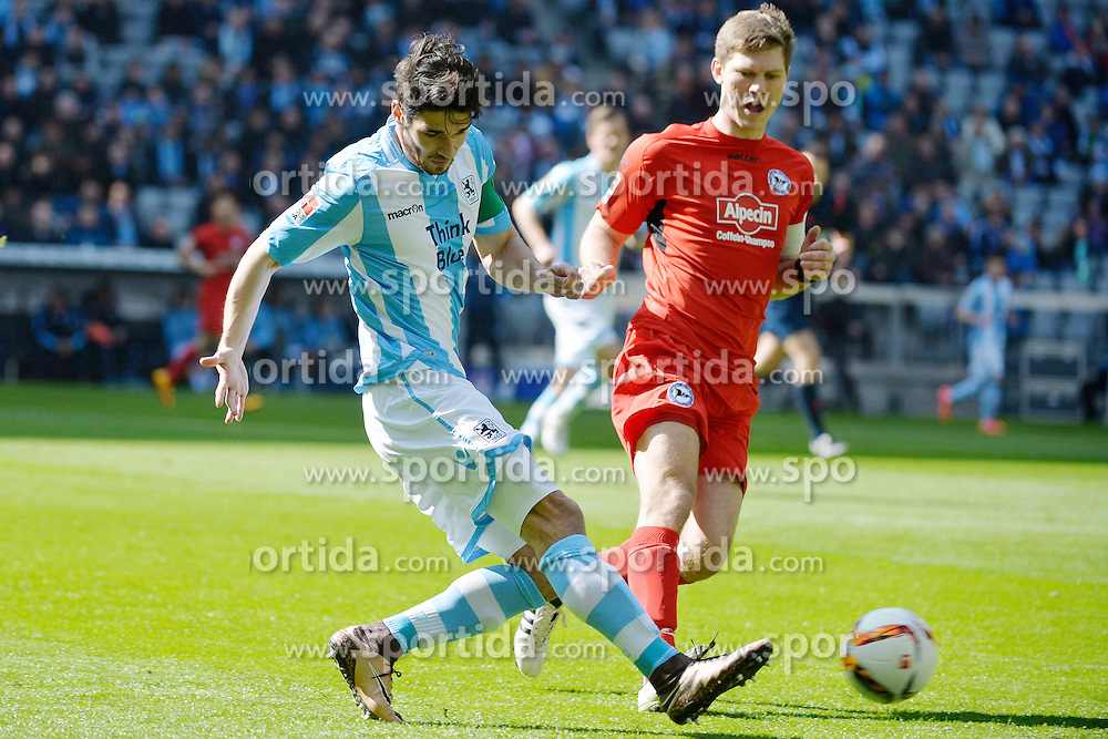 20.03.2016, Allianz Arena, Muenchen, GER, 2. FBL, TSV 1860 Muenchen vs DSC Arminia Bielefeld, 27. Runde, im Bild Christopher Schindler (TSV 1860 M?nchen), Fabian Klos (Arminia Bielefeld), v.li. Aktion // during the 2nd German Bundesliga 27th round match between TSV 1860 Muenchen vs DSC Arminia Bielefeld at the Allianz Arena in Muenchen, Germany on 2016/03/20. EXPA Pictures &copy; 2016, PhotoCredit: EXPA/ Eibner-Pressefoto/ Buthmann<br /> <br /> *****ATTENTION - OUT of GER*****