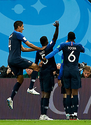 July 10, 2018 - SãO Petersburgo, Rússia - SÃO PETERSBURGO, MO - 10.07.2018: FRANÇA X BÉLGICA - Samuel Umtiti of France celebrates after scoring a goal during a match between France and Belgium valid for the semi final of the 2018 World Cup held at the Krestovsky Stadium in St Petersburg, Russia. (Credit Image: © Marcelo Machado De Melo/Fotoarena via ZUMA Press)