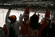 Fans celebrate a goal that was eventually waved off during a game against Union College at the Gene Polisseni Center on October 3, 2014.