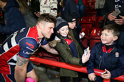 Jason Woodward of Bristol Rugby poses with fans after Bristol Rugby win 28-20 - Rogan Thomson/JMP - 26/12/2016 - RUGBY UNION - Ashton Gate Stadium - Bristol, England - Bristol Rugby v Worcester Warriors - Aviva Premiership Boxing Day Clash.