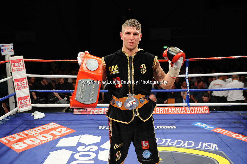 Brian Rose celebrates his defeat over Martin Welsh for the English Light Middleweight title at Medway Park, Gillingham, Kent, UK on 13th May 2011. Frank Maloney Promotions. Photo credit © Leigh Dawney 2011.