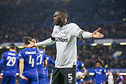 Derby County defender Fikayo Tomori (5) protests to the assistant referee after a Chelsea goal during the EFL Cup 4th round match between Chelsea and Derby County at Stamford Bridge, London, England on 31 October 2018.