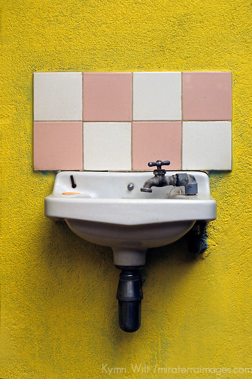 Central America, Guatemala, Antigua. A shared basin at an Antigua hostel.