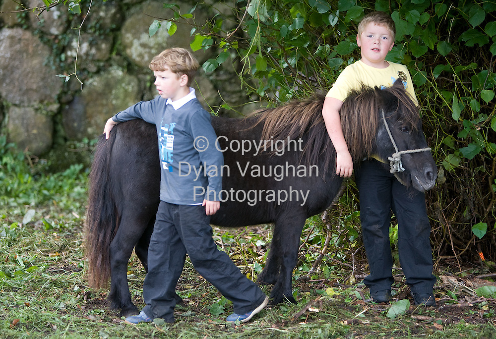 15/8/2008.Andy Cash aged 7 from New Ross (right) and Larry Connor aged 7 from New Ross pictured at the Borris Horse Fair in County Carlow yesteday..Picture Dylan Vaughan