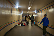 Homeless people asleep in busy London underpass to keep warm during the winter in London, United Kingdom. There are more than 8,000 people sleeping rough in London every year.  (photo by Andrew Aitchison / In pictures via Getty Images)