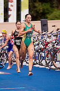 Emma Moffatt AUS.Womens ITU Race.2011 Dextro Energy Triathlon ITU World Championship Sydney.Sydney, New South Wales, Australia..Hosted By USM Events.Proudly Supported By Asics, Dextro, Suunto, Events New South Wales, Subaru, USM Events..10/04/2011.Photo Lucas Wroe