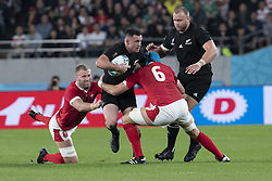 November 1, 2019, Tokyo, Japan: New Zealand's Ryan Crotty is tackled by Wales' Ross Moriarty and Justin Tipuric during the Rugby World Cup 2019 Bronze Final between New Zealand and Wales at Tokyo Stadium. New Zealand defeats Wales 40-17. (Credit Image: © Rodrigo Reyes Marin/ZUMA Wire)
