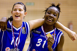 Kristina Verbole and Nikya Hughes of Celje celebrate at finals match of Slovenian 1st Women league between KK Hit Kranjska Gora and ZKK Merkur Celje, on May 14, 2009, in Arena Vitranc, Kranjska Gora, Slovenia. Merkur Celje won the third time and became Slovenian National Champion. (Photo by Vid Ponikvar / Sportida)