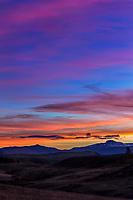 Kolob Reservoir Sunrise: Driving along the Kolob Reservoir Road, from Cedar Canyon to Zion National Park, sunrise greets a brisk Autumn day, Utah USA.