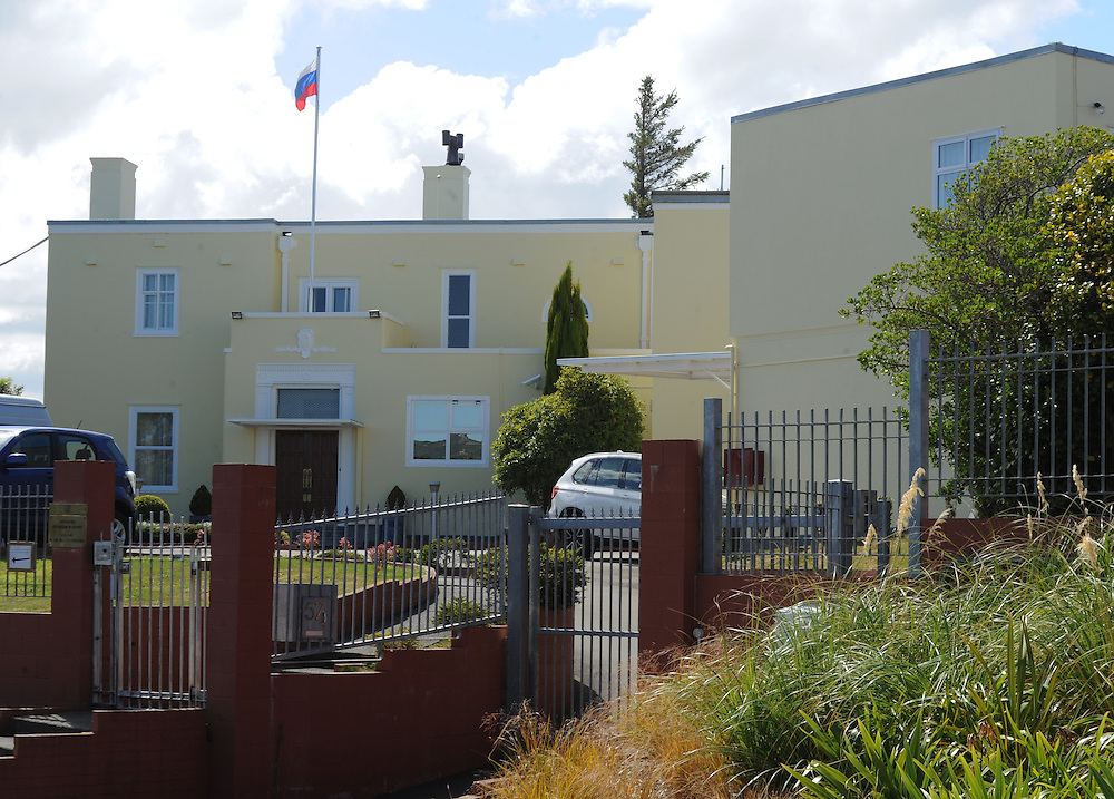 The Russian Embassy, Wellington, New Zealand, Monday, March 03, 2014. Credit:SNPA / Ross Setford