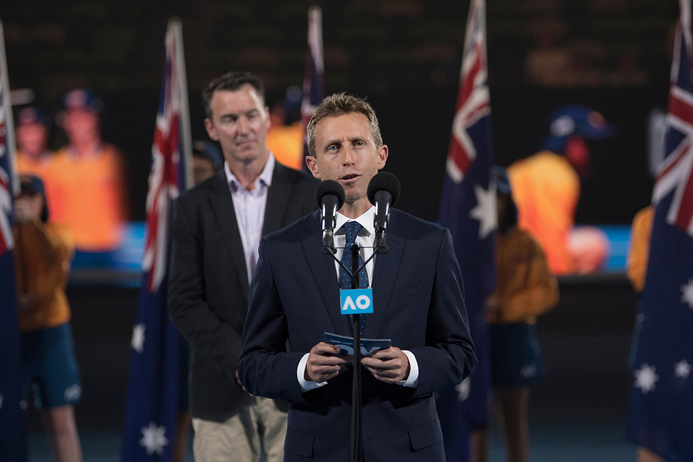 Ball kid of the year award presentation during the 2018 Australian Open on day 12 in Melbourne, Australia on Friday night January 26, 2018.<br /> (Ben Solomon/Tennis Australia)