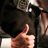 Muschamp gives a thumbs up during one of his press conferences. ©Travis Bell Photography