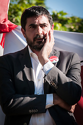 May 24, 2019 - Rome, italy, Italy - the Secretary of the Italian Left, Nicola Fratoianni, on the sidelines of the closure of the European election campaign for the Left, held in Rome in Piazza Sauli, Garbatella on May 24, 2019 in Rome, (Credit Image: © Andrea Ronchini/NurPhoto via ZUMA Press)