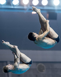 WUHAN, June 5, 2018  Chris Mears/Jack Laugher (L) of Britain compete during the men's 3m springboard synchronised final at the FINA Diving World Cup 2018 in Wuhan, central China's Hubei Province, on June 5, 2018. Chris Mears/Jack Laugher took the second place with a total of 440.64 points. (Credit Image: © Xiong Qi/Xinhua via ZUMA Wire)