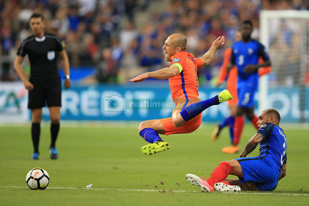 31 August 2017 -  FIFA World Cup Qualifying (Group A) - France v Netherlands - Arjen Robben of Netherlands is fouled by Layvin Kurzawa of France - Photo: Marc Atkins/Offside