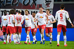 LEIPZIG, Feb. 26, 2019  Leipzig's Willi Orban (3rd R) celebrates with his teammates during a German Bundesliga match between RB Leipzig and TSG 1899 Hoffenheim in Leipzig, Germany, on Feb. 25, 2019. The match ended in a 1-1 draw. (Credit Image: © Kevin Voigt/Xinhua via ZUMA Wire)
